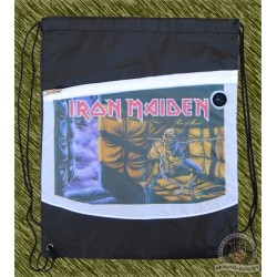 mochila negra y blanca, Iron maiden, piece of mind