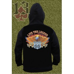 Sudadera con capucha, live the legend, route 66