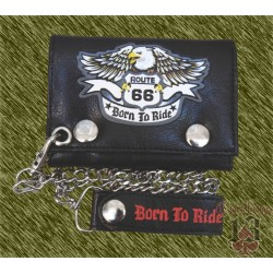 cartera de piel, route 66 born to ride