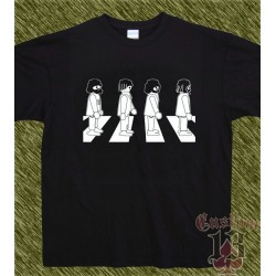 Camiseta negra, beatles, playmobil