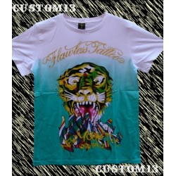 Camiseta Flawless Tattoo, tigre blanco y verde
