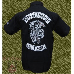 Camisa bordada y estampada, sons of anarchy