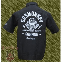Camisa bordada y estampada, gas monkey