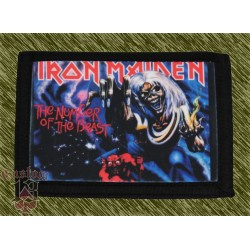 cartera nylon con cadena, iron maiden, the number of the beast