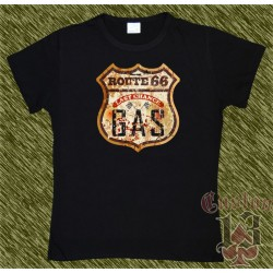Camiseta negra de mujer, route 66, gas last chance