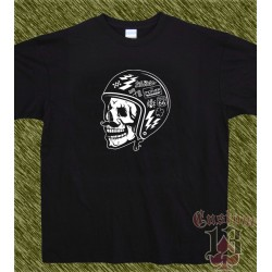 Camiseta negra, calavera just ride