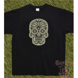 Camiseta negra, calavera mexicana, un color