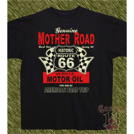 Camiseta negra, genuine mother road