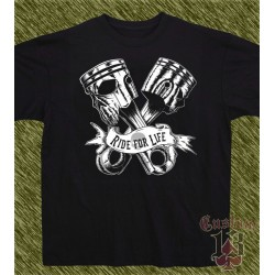 Camiseta negra, pistons, ride for life
