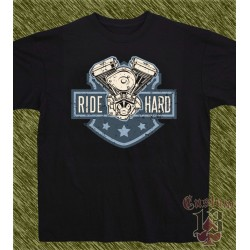 Camiseta negra, ride hard motor