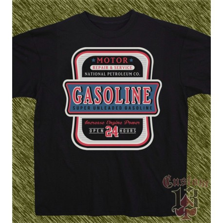 Camiseta negra, gasoline, open 24 hours