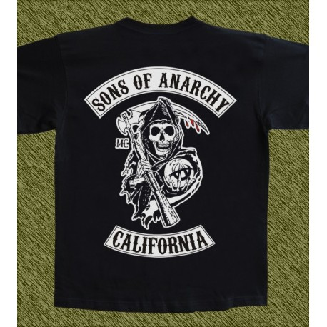Camiseta negra, sons of anarchy, con cargos