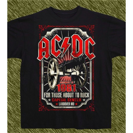 Camiseta negra, AC-DC for those about to rock, 1981