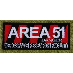 Parche bordado, area 51 danger
