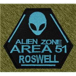 Parche bordado, alien zone area 51