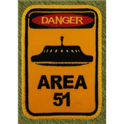 Parche bordado, danger, area 51