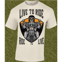 Camiseta beig, live to ride, ride to live