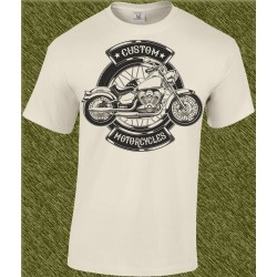 Camiseta beig, custom motorcycles