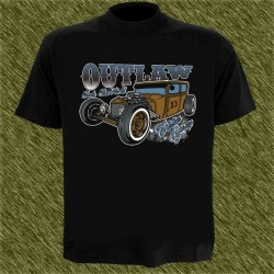 Camiseta negra, outlaw thirteen garge