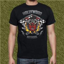 Camiseta negra, holliwood hot rod