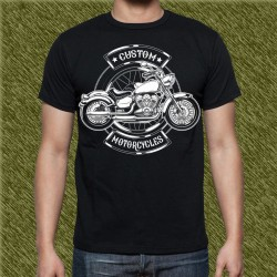 Camiseta negra, custom motorcycle