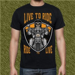 Camiseta negra, live to ride, ride to live