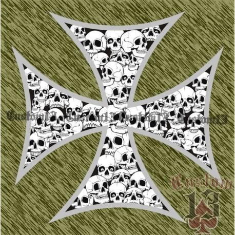 Vinilo cruz con calaveras con borde gris pequeño