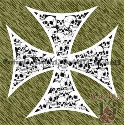 Vinilo cruz con calaveras grande, borde blanco