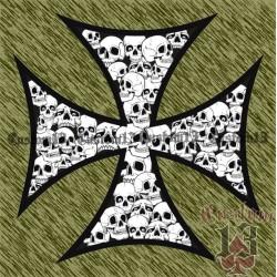 Vinilo cruz con calaveras grande, borde negro