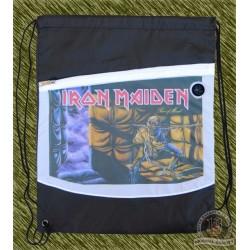 mochila negra y blanca, Iron maiden, piece of mind
