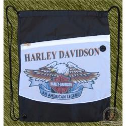 mochila negra y blanca, harley davidson
