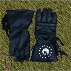 guantes invierno de piel con conchos y flecos, custom13