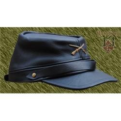 gorra sureña de piel, negra