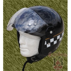Casco Jet, negro brillo checker con pantalla