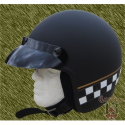 Casco Jet, negro mate checker