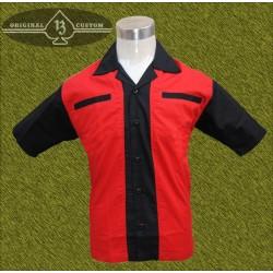Camisa bolos, roja, mangas negras