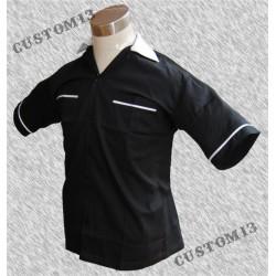 Camisa bolos, negra con cuello blanco