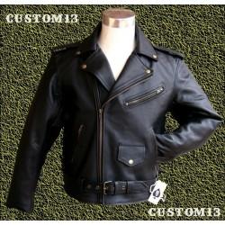 Cazadora de piel Custom13 cruzada clásica