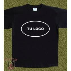 Camiseta negra algodón, personalizada