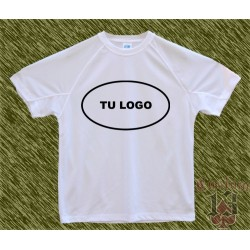 Camiseta blanca polyester, personalizada