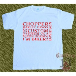 Camiseta blanca multi palabras, rojas