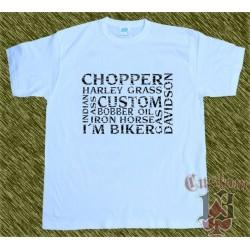 Camiseta blanca, multi palabras negras