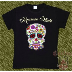 Camiseta negra de mujer, Mexican Skull 01