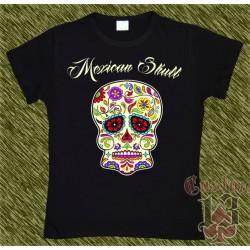 Camiseta negra de mujer, Mexican Skull 02
