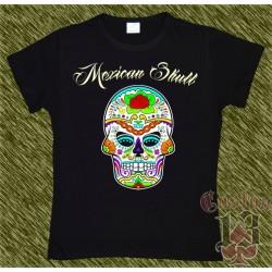 Camiseta negra de mujer, Mexican Skull 03