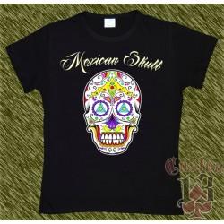 Camiseta negra de mujer, Mexican Skull 04