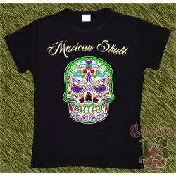 Camiseta negra de mujer, Mexican Skull 05