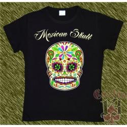 Camiseta negra de mujer, Mexican Skull 06