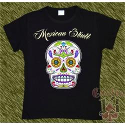Camiseta negra de mujer, Mexican Skull 07