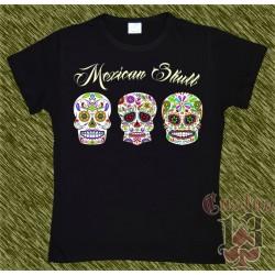 Camiseta negra de mujer, Mexican Skull x 3